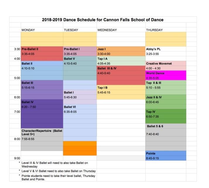 2018-19 schedule